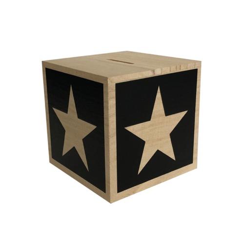houten spaarpot met naam