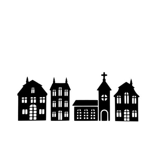 Raamsticker huisjes en kerk